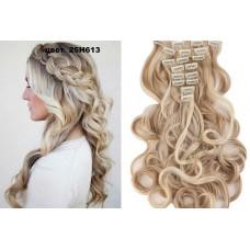 Волосы на заколках волнистые цвет №25H613 Мелирование блонд