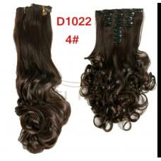 Волосы на заколках волнистые цвет №4A темный шоколад