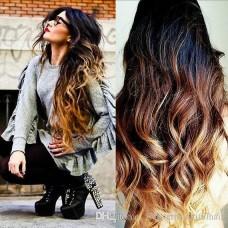 Волосы на заколках волнистые цвет Омбре черный + русо - рыжий