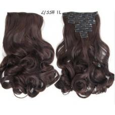 Волосы на заколках волнистые цвет №2/33 Шатен