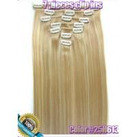 Волосы на заколках цвет №25H612 мелирование блонд