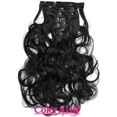 Волосы на заколках волнистые цвет №1В  натуральный черный