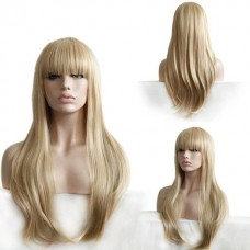 Парик длинный с челкой блондин №1019