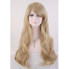 Парик длинный с  челкой блонд №1006