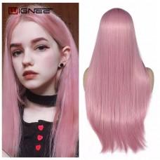 Парик  розовый без челки пудровый