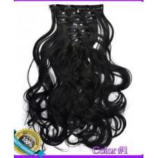 Волосы на заколках волнистые цвет №1угольно черный