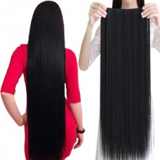 Тресса 100см длина волосы на ленте черные длинные широкая одиночная прядь