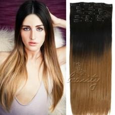 Накладные волосы на заколках омбре с черным №123