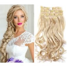 Волосы на заколках волнистые цвет №613 -А натуральный блонд