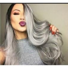 Волосы на заколках волнистые цвет Омбре черный + серый